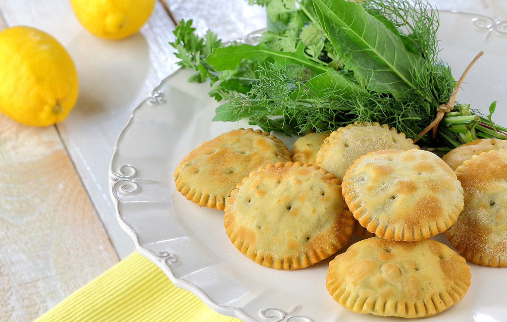 Fried Pastries with Mountain Greens