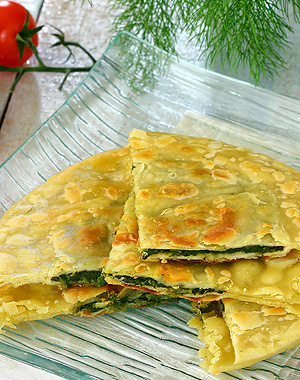Traditional Cretan Mountain Greens Fried Pastry (Pita)